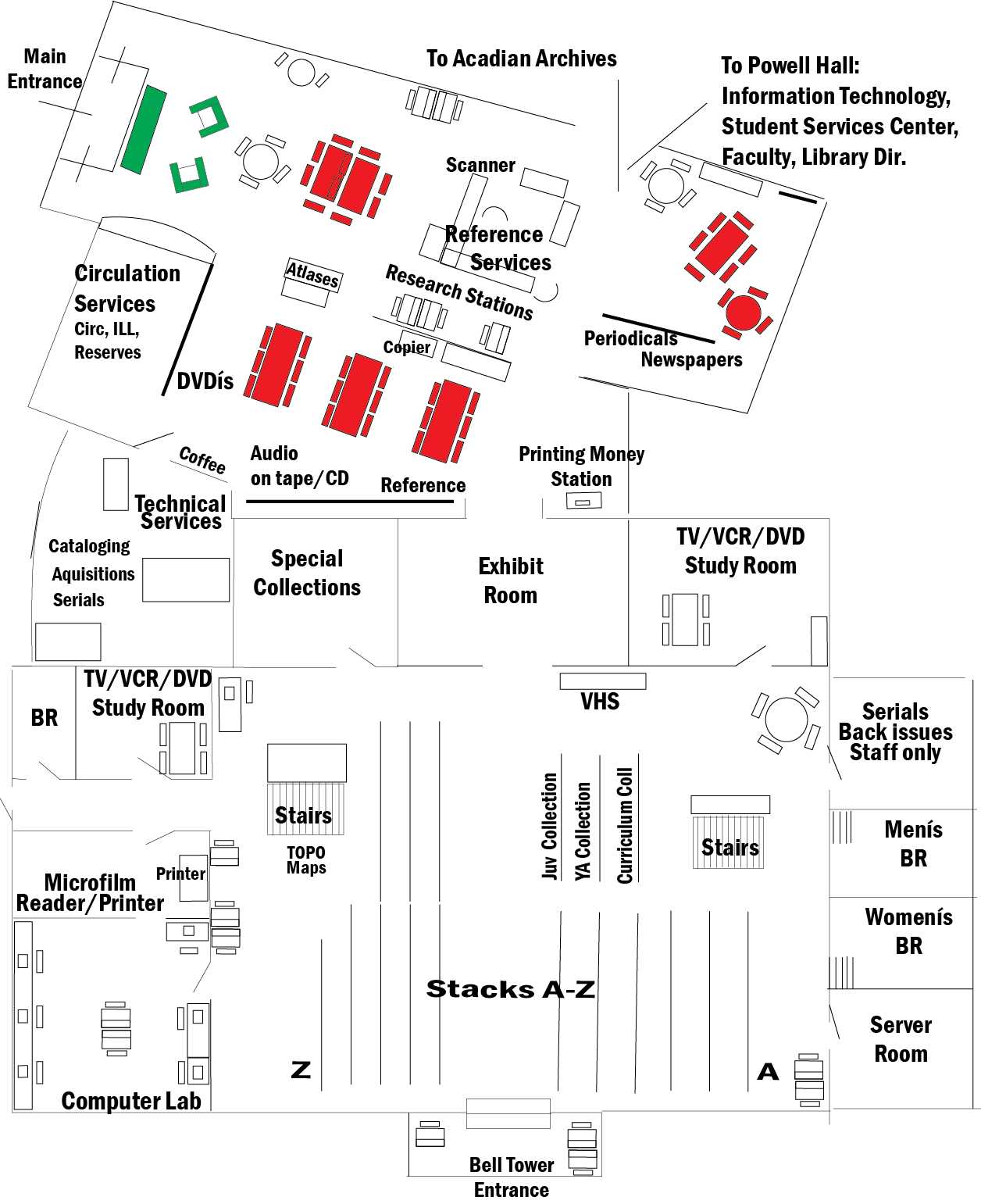 This image illustrates the downstairs layout of Blake Library. Please use the printer-friendly version link for an accessible PDF of this map.