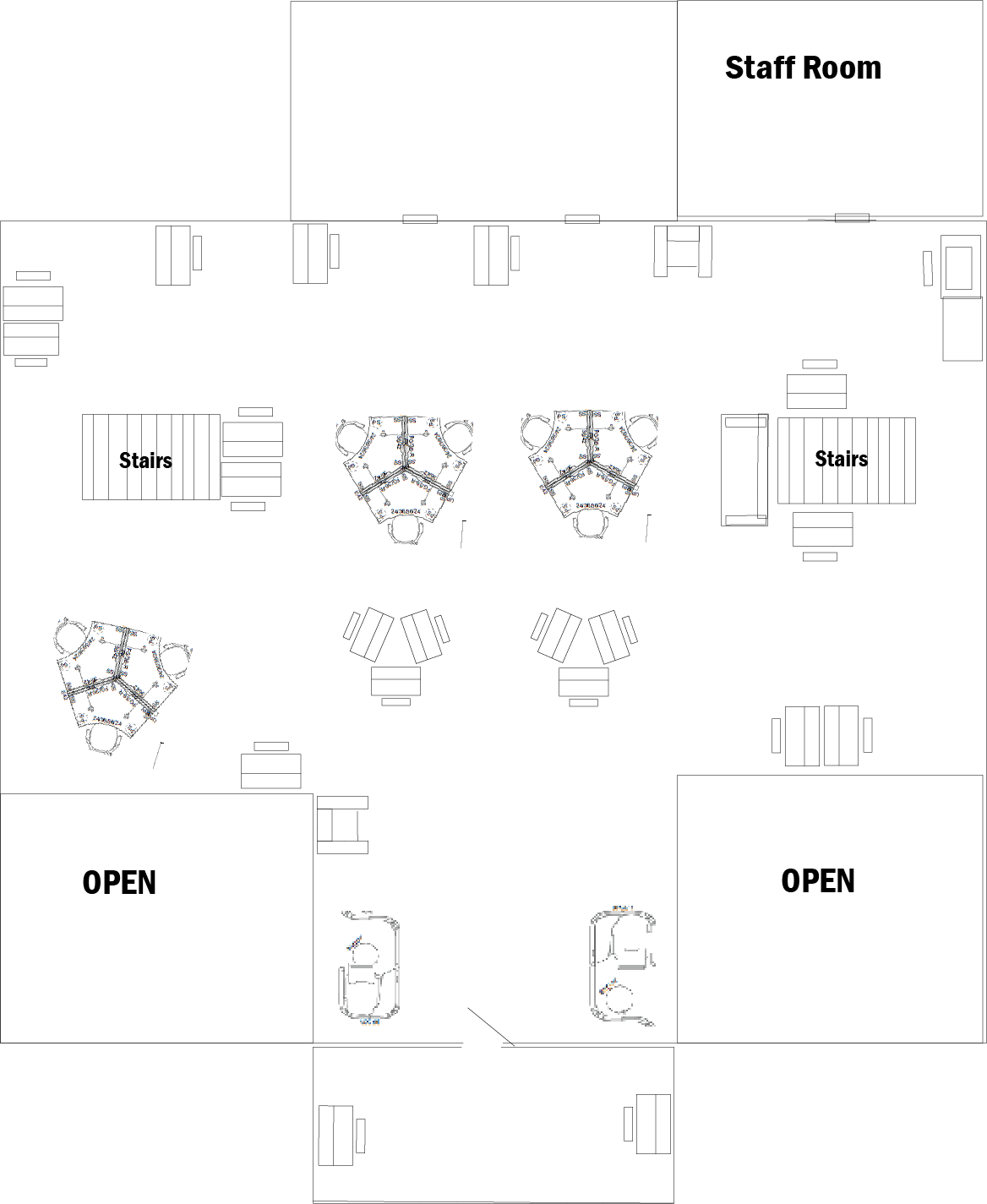 This image illustrates the upstairs layout of Blake Library. Please use the printer-friendly version link for an accessible PDF of this map.